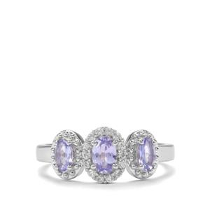Tanzanite Ring with White Zircon in Sterling Silver 0.86ct