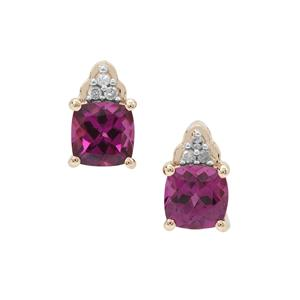 Comeria Garnet Earrings with Diamond in 9K Gold 1.40cts