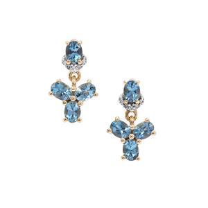 Nigerian Aquamarine Earrings with Diamond in 9K Gold 1.30cts