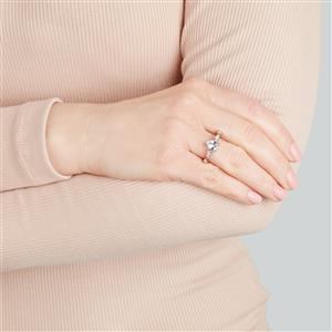 Espirito Santo Aquamarine Ring with White Zircon in 10k Gold 1.48cts
