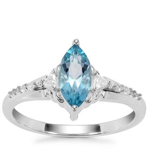 Swiss Blue Topaz Ring with White Zircon in Sterling Silver 1.05cts