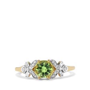 Tsavorite Garnet Ring with Diamond in 18K Gold 1.43cts