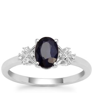 Madagascan Blue Sapphire Ring with White Zircon in Sterling Silver 1.19cts