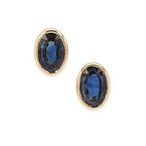 1.03ct Australian Blue Sapphire 9K Gold Earrings