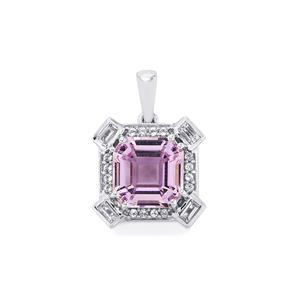 Rose De France Amethyst Pendant with White Topaz in Sterling Silver 5.21cts