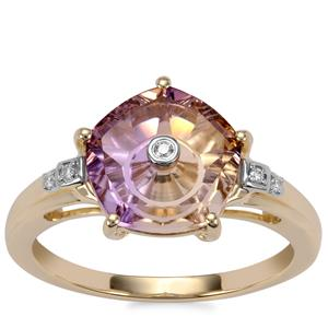 Lehrer TorusRing Anahi Ametrine Ring with Diamond in 10K Gold 2.86cts