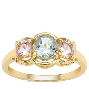 Cherry Blossom™ Morganite Ring with Aquaiba™ Beryl in 9K Gold 1.20cts
