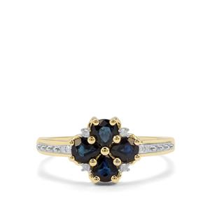 Australian Blue Sapphire & Diamond 9K Gold Ring ATGW 0.91cts