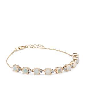 Kelayi Opal Bracelet with White Zircon in 9K Gold 3cts