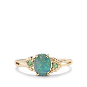Crystal Opal on Ironstone & Tsavorite Garnet 9K Gold Ring