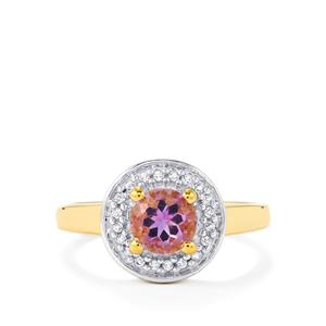 Moroccan Amethyst Ring with White Topaz in Gold Plated Sterling Silver 0.92cts