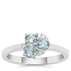 Madagascan Blue Apatite Ring with White Zircon in Sterling Silver 0.71ct