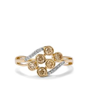 Natural Coloured Diamond Ring with White Diamond in 10K Gold 0.54ct