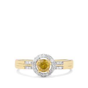 1/2ct Yellow & White Diamond 9K Gold Tomas Rae Ring