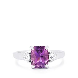 Moroccan Amethyst & White Topaz Sterling Silver Ring ATGW 2.35cts