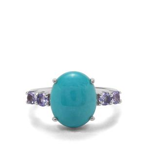 Sleeping Beauty Turquoise & Tanzanite Sterling Silver Ring ATGW 4.26cts