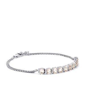 Zambezia Morganite Bracelet with White Topaz in Sterling Silver 4.20cts