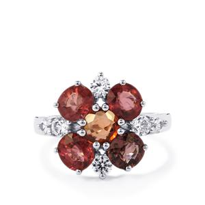 Burmese Spinel & White Zircon Sterling Silver Ring ATGW 4.58cts