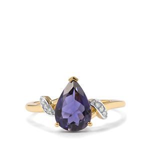 Bengal Iolite & Diamond 10K Gold Ring ATGW 1.47cts