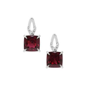 Tocantin Garnet Earrings with White Zircon in Sterling Silver  1.95cts