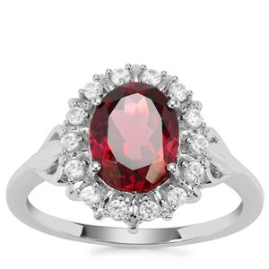 Mahenge Garnet Nora Saul Ring with White Zircon in Sterling Silver 2.75cts