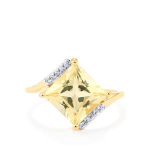 Serenite & White Zircon 9K Gold Ring ATGW 3.18cts