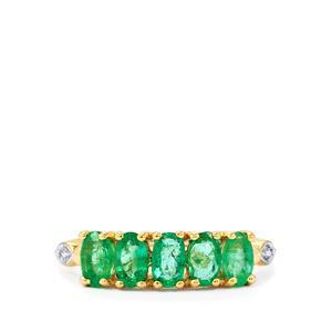 Zambian Emerald & Diamond 9K Gold Ring ATGW 1.04cts