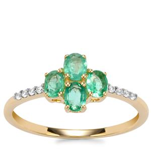 Zambian Emerald Ring with White Zircon in 9K Gold 0.73ct