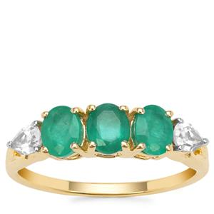 Siberian Emerald Ring with White Zircon in 9K Gold 1.40cts