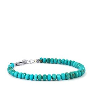 34.50ct Sleeping Beauty Turquoise Sterling Silver Graduated Bead Bracelet