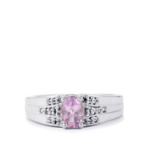 Rose du Maroc Amethyst Ring with White Topaz in Sterling Silver 0.77ct