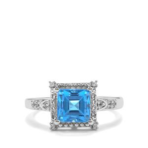 Swiss Blue Topaz Ring with White Topaz in Sterling Silver 2.35cts