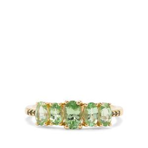Tsavorite Garnet & Green Diamond 9K Gold ATGW 1.48cts
