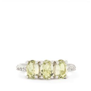 Sillimanite & White Topaz Sterling Silver Ring ATGW 2.13cts