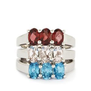 Swiss Blue Topaz, Rhodolite Garnet & Zambezia Morganite Sterling Silver Set of 3 Ring ATGW 4.33cts