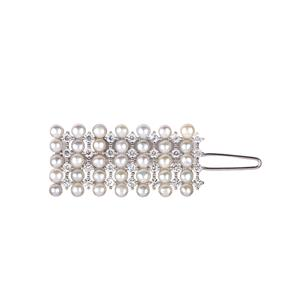 Kaori Cultured Pearl Hair Comb with White Topaz in Rhodium Flash Sterling Silver