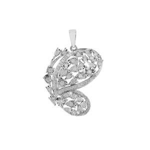 1/2ct Diamond Sterling Silver Halo Diamonds Butterfly Pendant