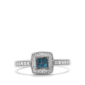 1/3ct Blue & White Diamond 10K White Gold Ring