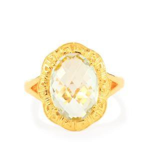 5ct Prasiolite Gold Midas Ring