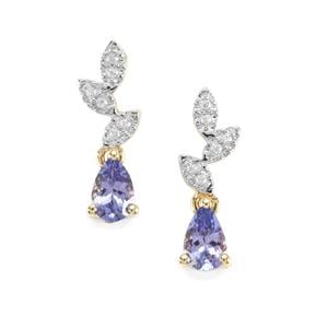 AA Tanzanite Earrings with White Zircon in 9K Gold 0.92cts