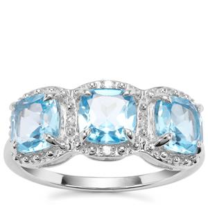 Swiss Blue Topaz Ring with Diamond in Sterling Silver 3.12cts