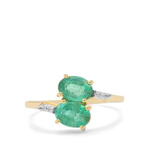 Zambian Emerald Ring with White Zircon in 9K Gold 1.55cts