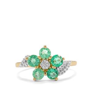 Ethiopian Emerald Ring with Diamond in 18K Gold 1.03cts
