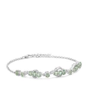 Odisha Kyanite & White Zircon Sterling Silver Bracelet ATGW 3.59cts