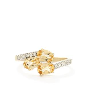 Ouro Preto Imperial Topaz & White Zircon 9K Gold Ring ATGW 1.55cts