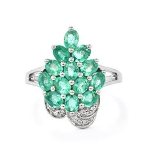 Zambian Emerald Ring with White Zircon in Platinum Plated Sterling Silver 2.09cts
