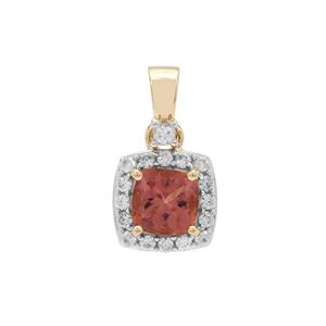 Rosé Apatite Pendant with White Zircon in 9K Gold 1.40cts