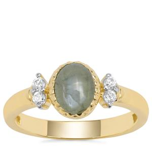 Cats Eye Alexandrite Ring with White Zircon in 9K Gold 1.53cts