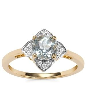 Mozambique Aquamarine Ring with White Zircon in 9K Gold 0.91ct