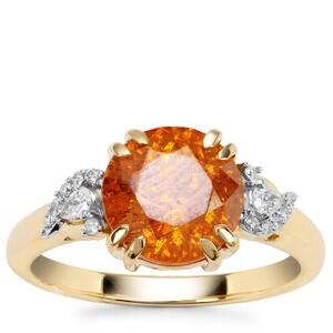 Aliva Sphalerite Ring with Diamond in 18K Gold 3.68cts